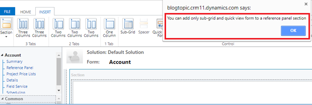 Reference Panel Section in Dynamics 365 V9.0