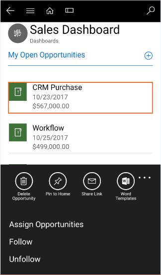 New Actions buttons on Dashboard Records in Dynamics 365 v9.0 Mobile & Tablet App