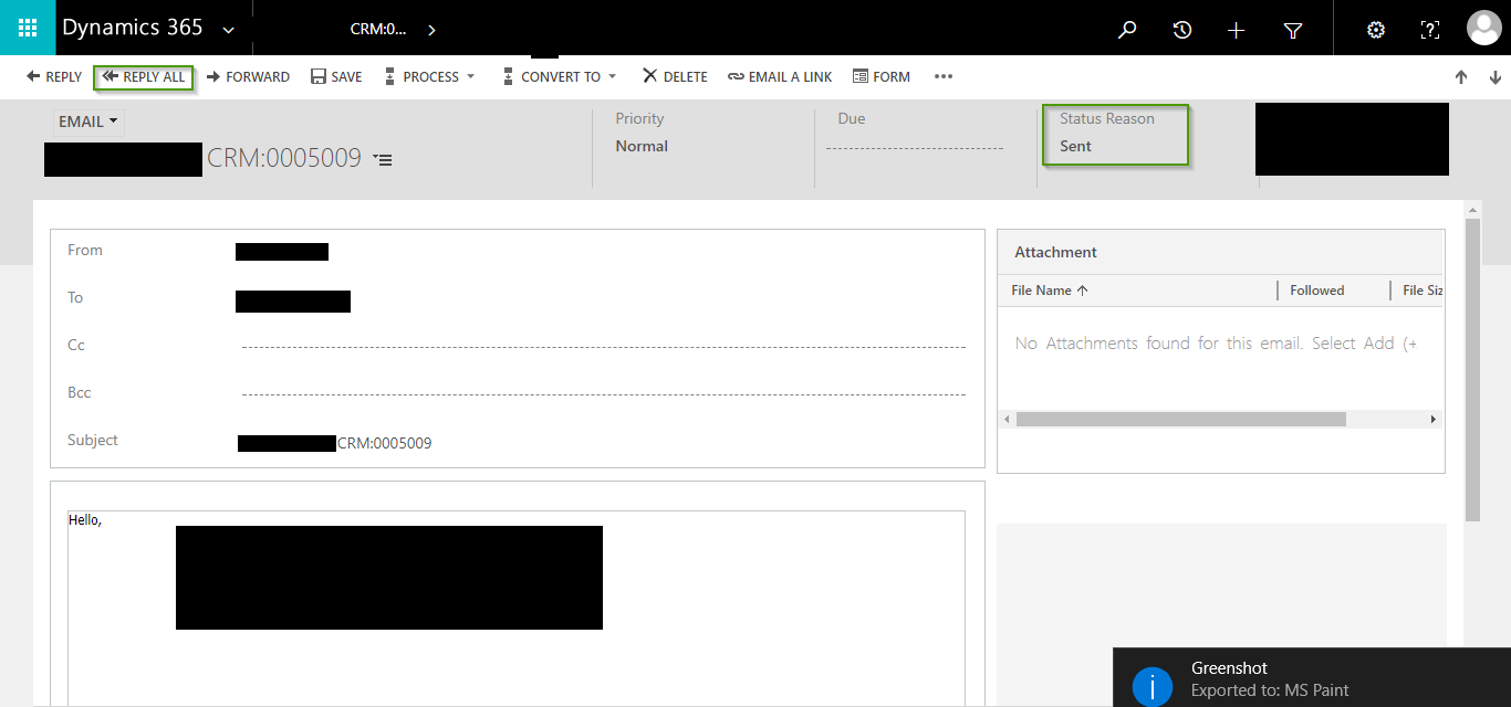 Track Parent Email using Parent Activity ID Field on Email Entity in Dynamics 365