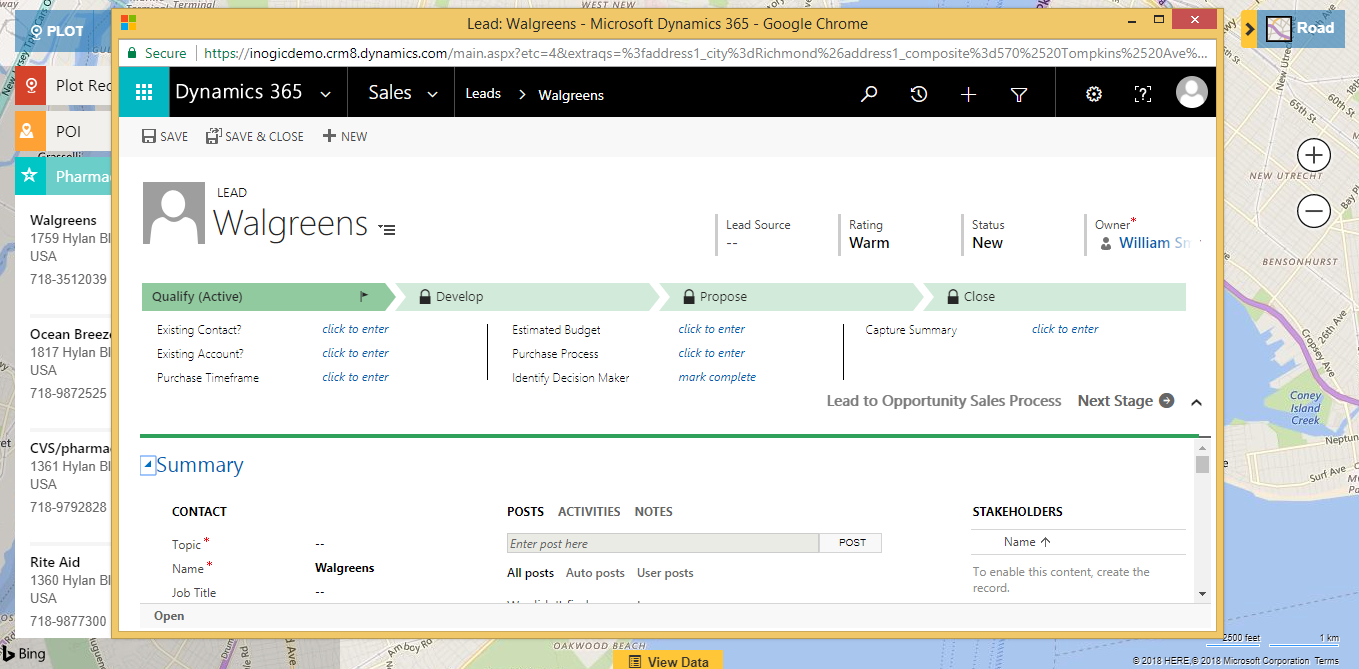 Microsoft Dynamics CRM Map