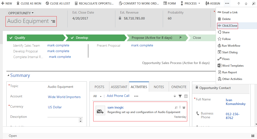 Clone Child Records Dynamics CRM