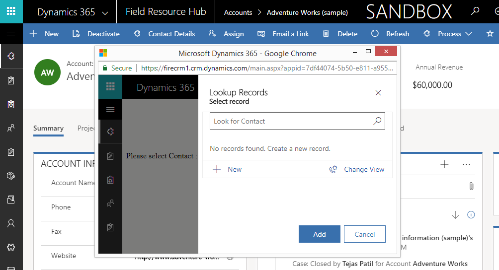 Show Lookup Dialog in Dynamics 365