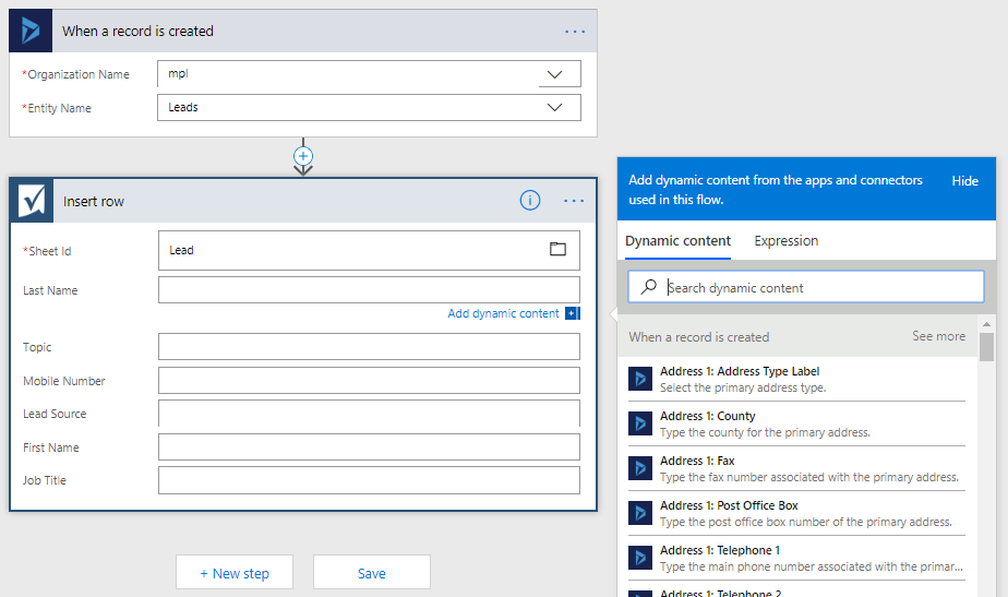 Update Smart Sheet at the time of Entity records creation in Dynamics 365 using Microsoft Flow