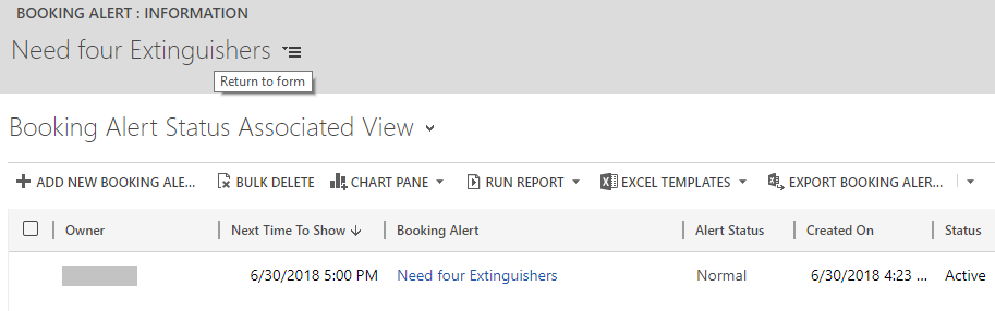 Booking Alert activity on Schedule Board in Dynamics 365