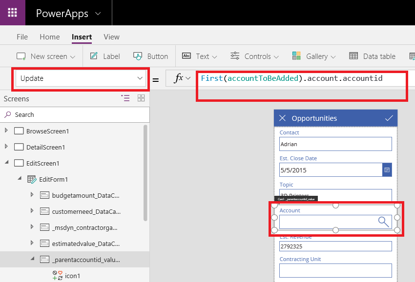 Working on Lookup Field of Dynamics 365 in PowerApps