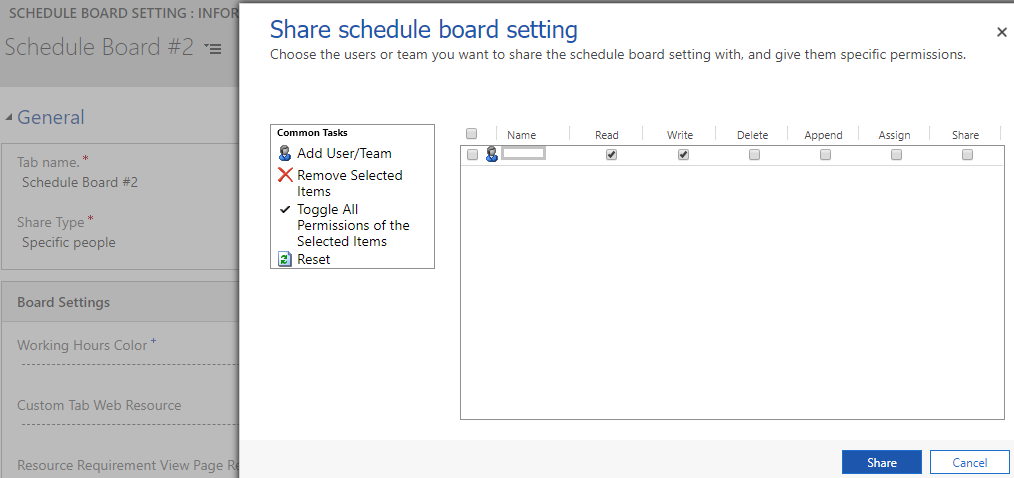 Dynamics 365 Field Service Personal View and Security on Schedule Board