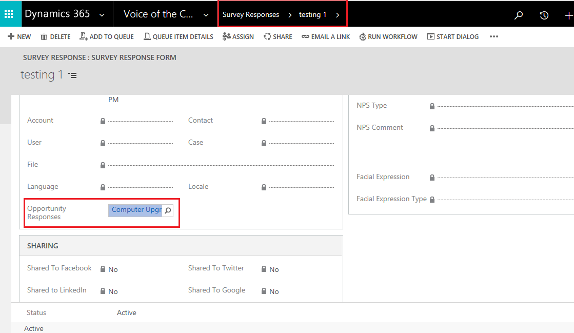 How to Show the Survey Response of a Survey for a Particular Entity using VOC in Dynamics 365