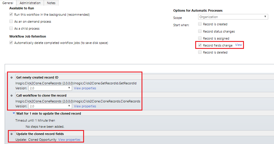 Set Reference and Auto Update the cloned Dynamics CRM record using Click2Clone workflow Feature