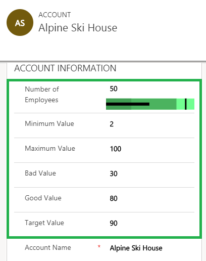 Controls in Dynamics 365 for Mobile App Bullet Graph