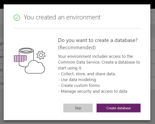Create Environment in Common Data Service