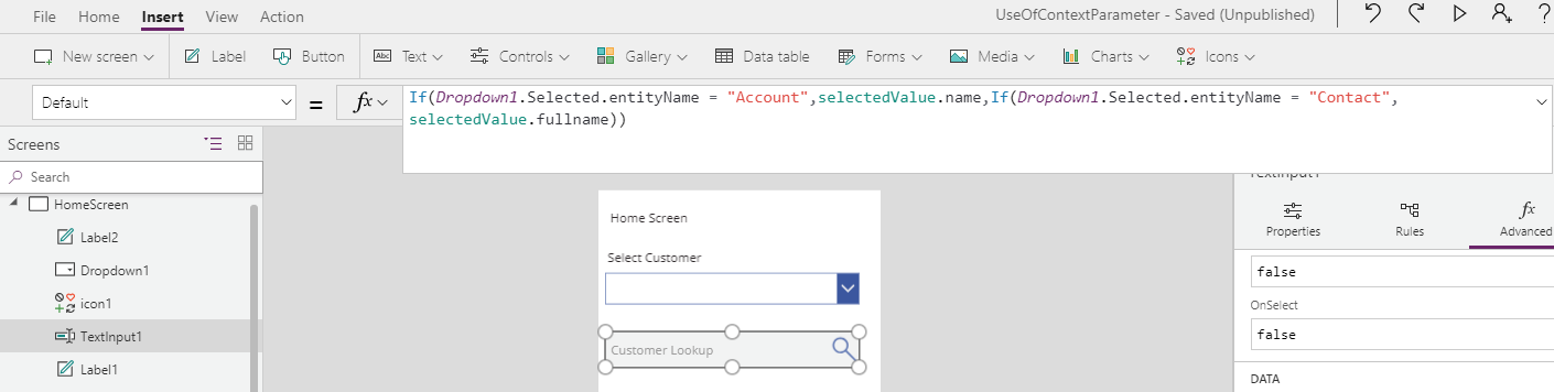 Create Customer Lookup in PowerApps using Data Context