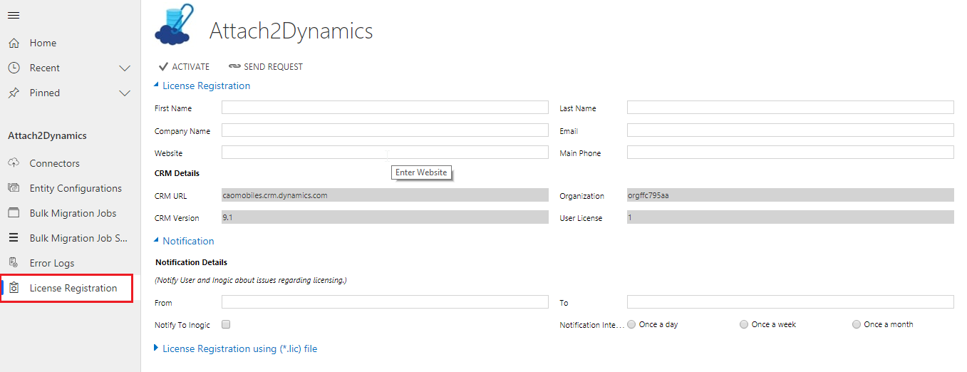 Configure and Activate Attach2Dynamics License