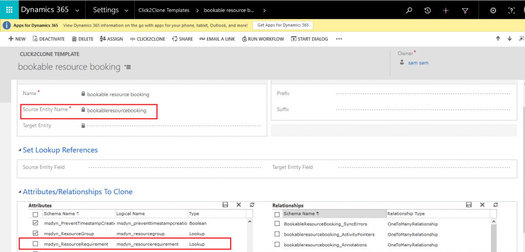 Clone Dynamics 365 Work Order along with related records using Click2Clone