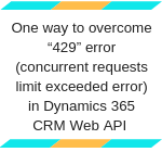 "How to overcome ""429"" error in CRM Web API"
