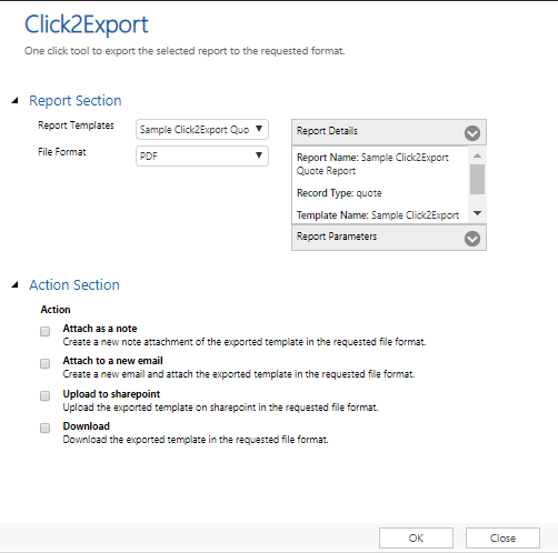Export Report Templates