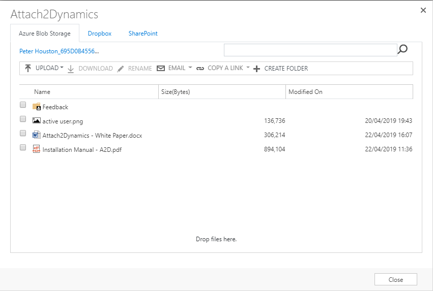 Support for Azure Blob Storage & Move Copy Sales Literature Attachments