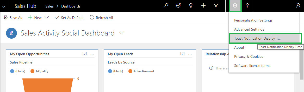Dynamics 365 CRM Toast Notification