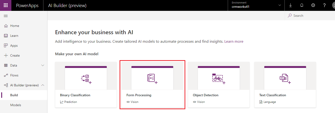 Form Processing AI Model Microsoft Flow Power Apps