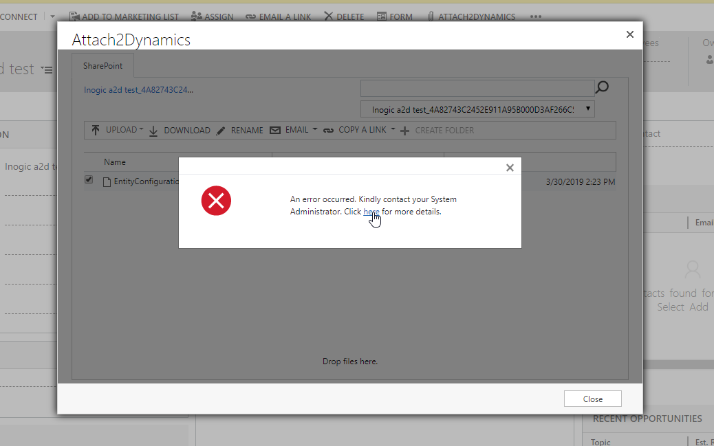 Unable to create anonymous link of uploaded file in SharePoint using Attach2Dynamics in Dynamics 365 CRM