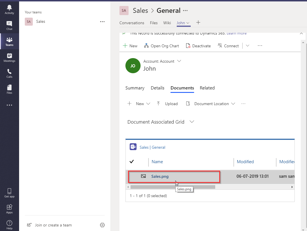 Integration between Dynamics 365 CRM and Microsoft Teams in Wave 2 Release