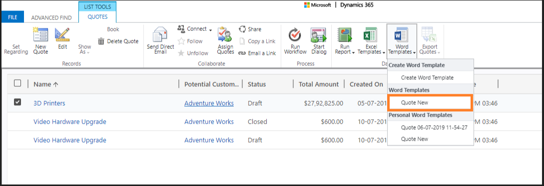 Dynamics 365 word template