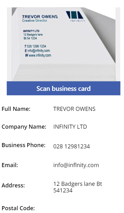add Business Card Scan Control in PowerApps