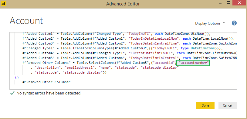 modify Power BI Report Data Source Queries from Advance Editor
