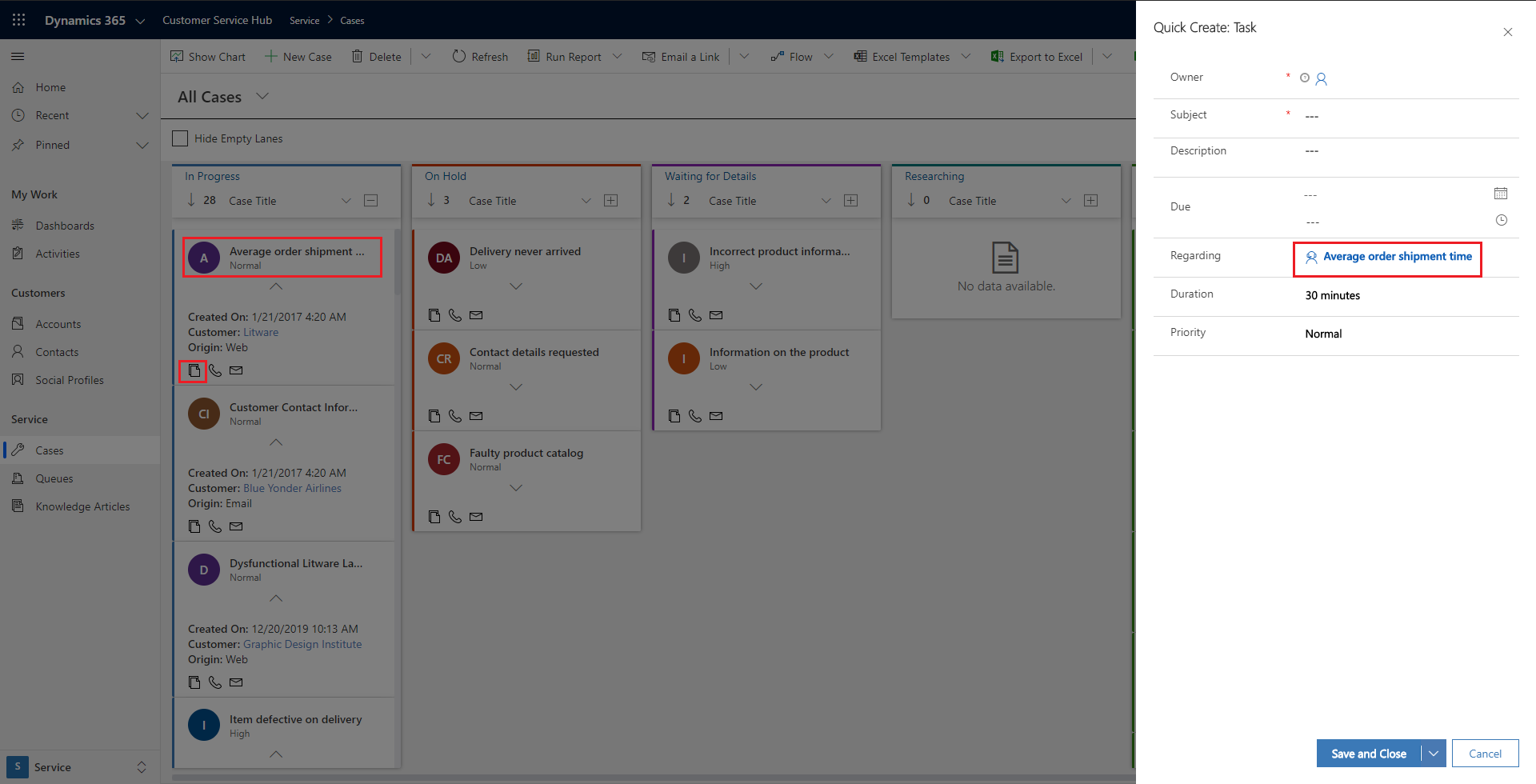 Support to define quick activity actions for the records
