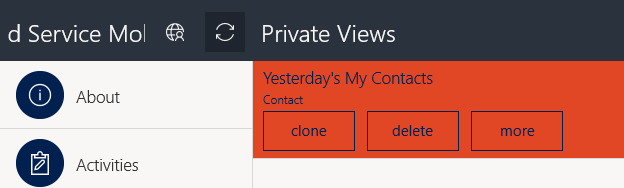 How to remove private views in Field Service Mobile app