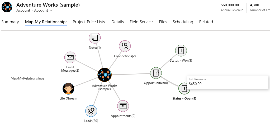 Mind Map View of Dynamics 365 CRM relationships for quick informed decisions