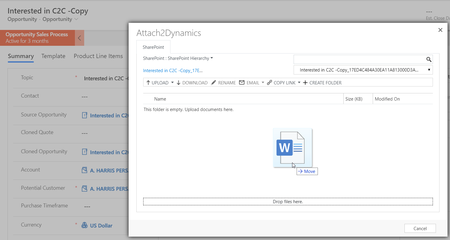 uploading files to SharePoint from your Dynamics 365 CRM