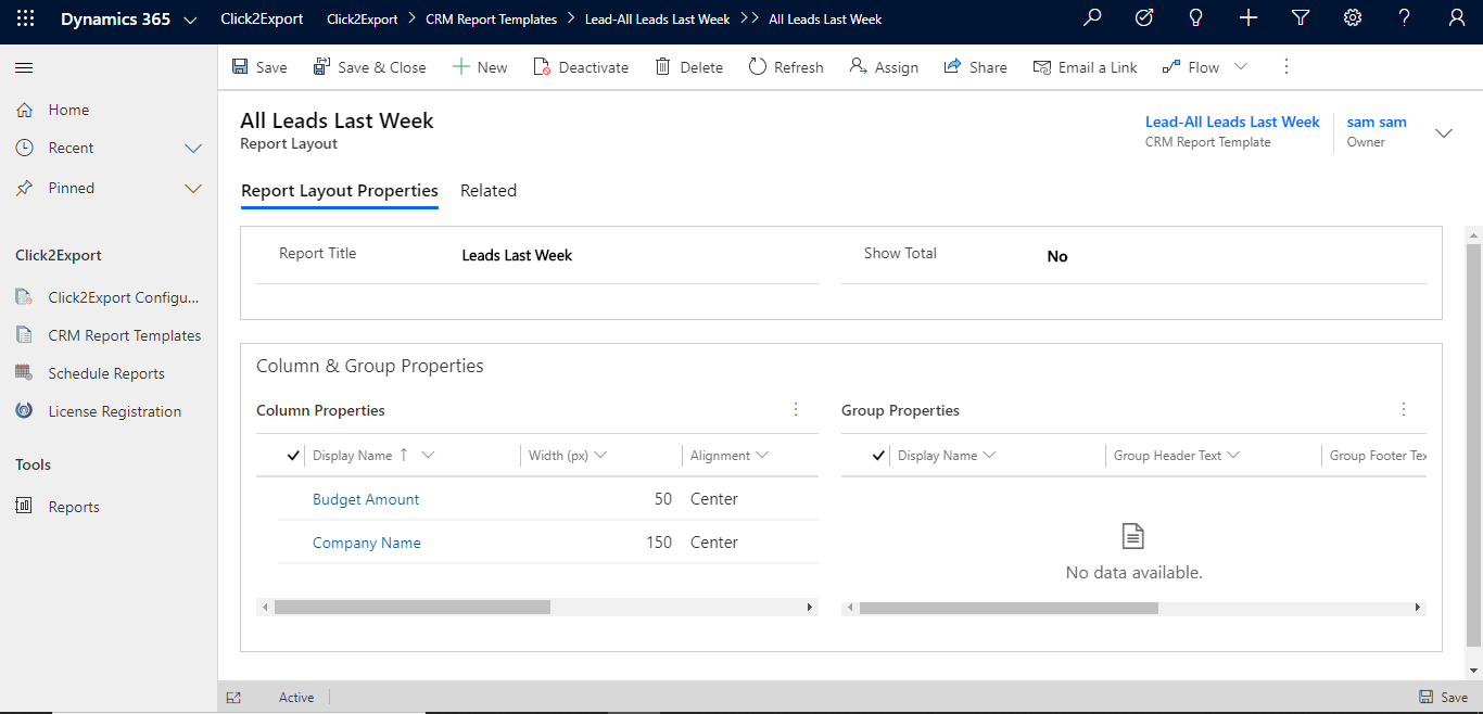 Click to Export and auto-send Dynamics 365 CRM Views in tabular form to target users with pre-defined Email Templates