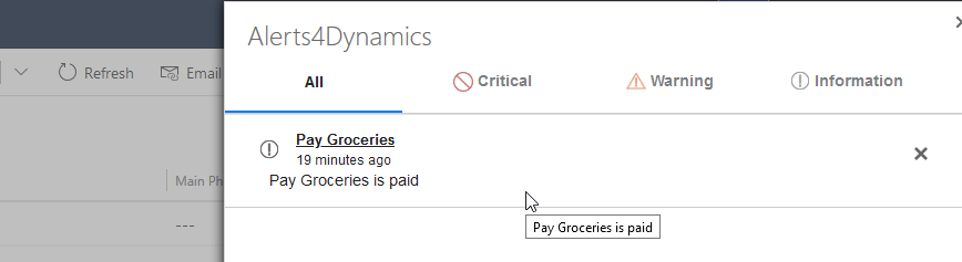 Alerts within Dynamics 365 CRM