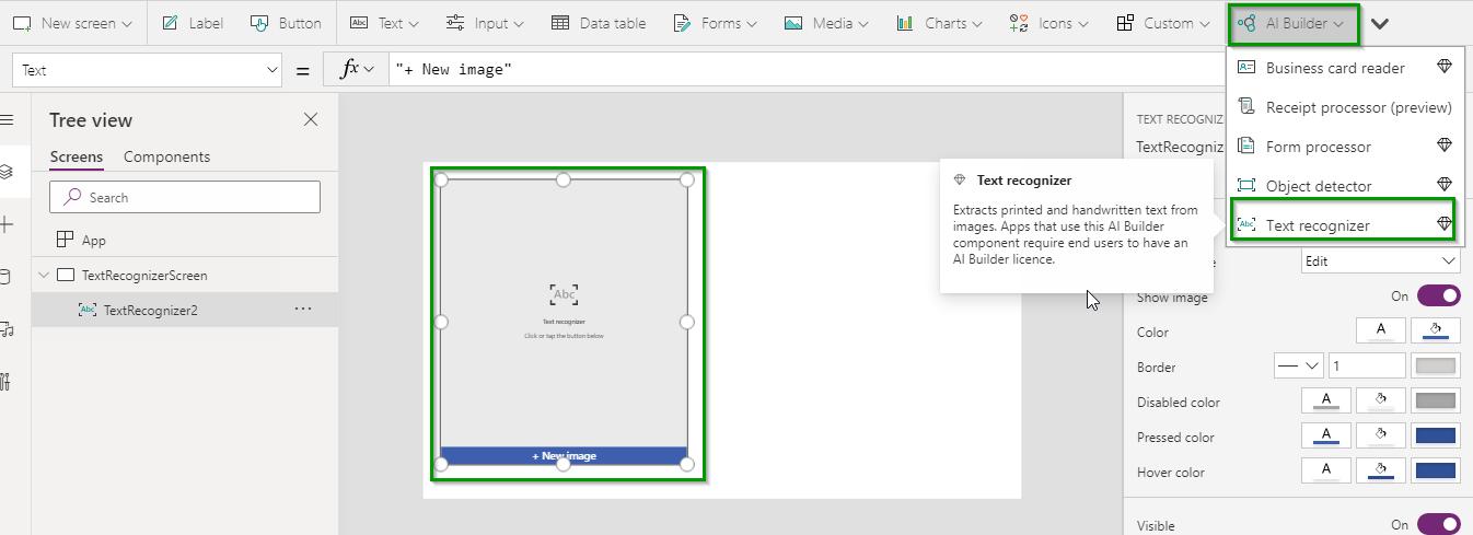 Text recognizer in canvas app