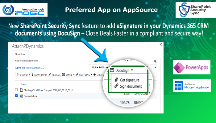 SharePoint Security Sync feature to add eSignature in your Dynamics 365 CRM documents using DocuSign