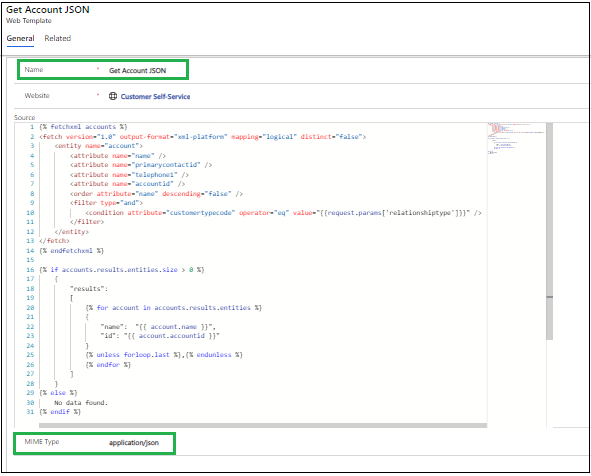 Use of JSON Type Web Templates in PowerApps Portals
