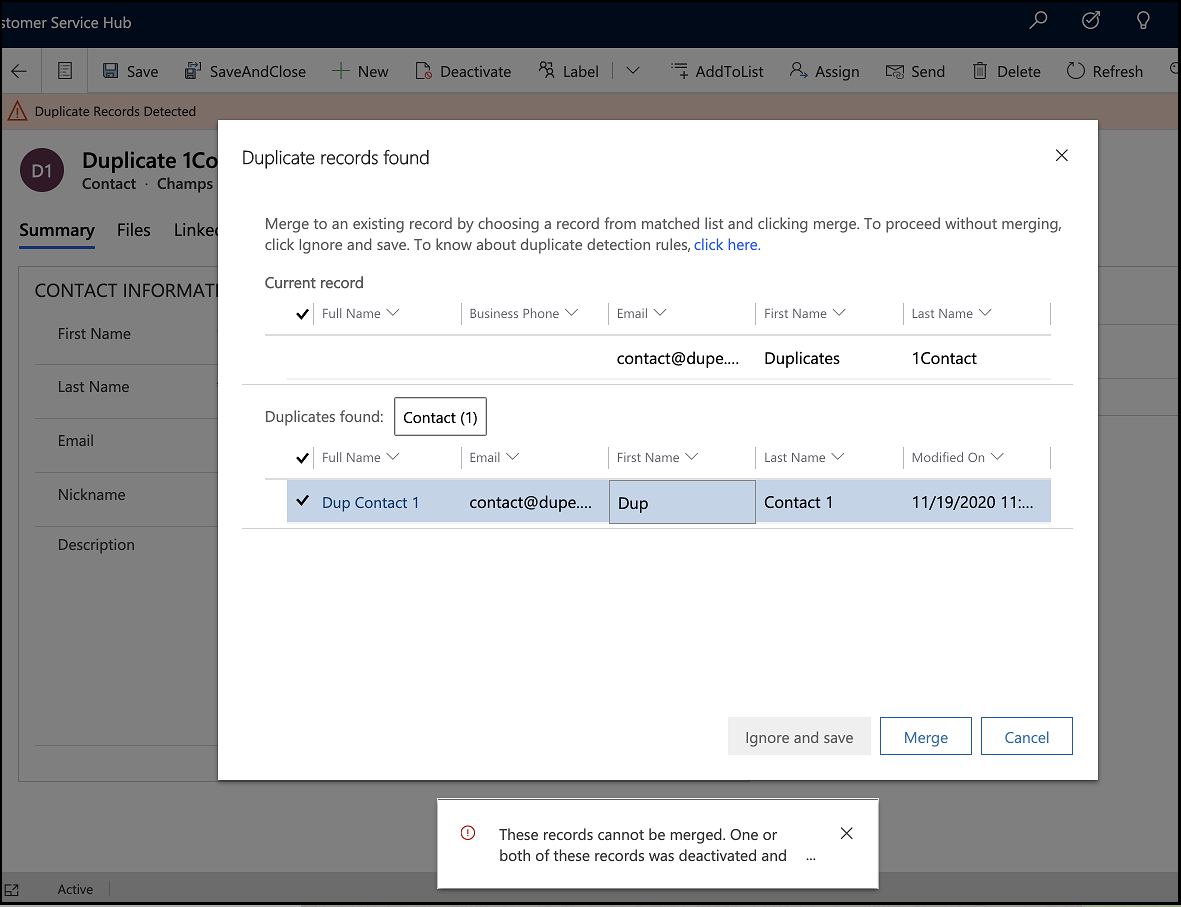 Merge Accounts / Contacts / Leads in Dynamics 365 CRM If You are Prompted for a Duplicate Record Right There!