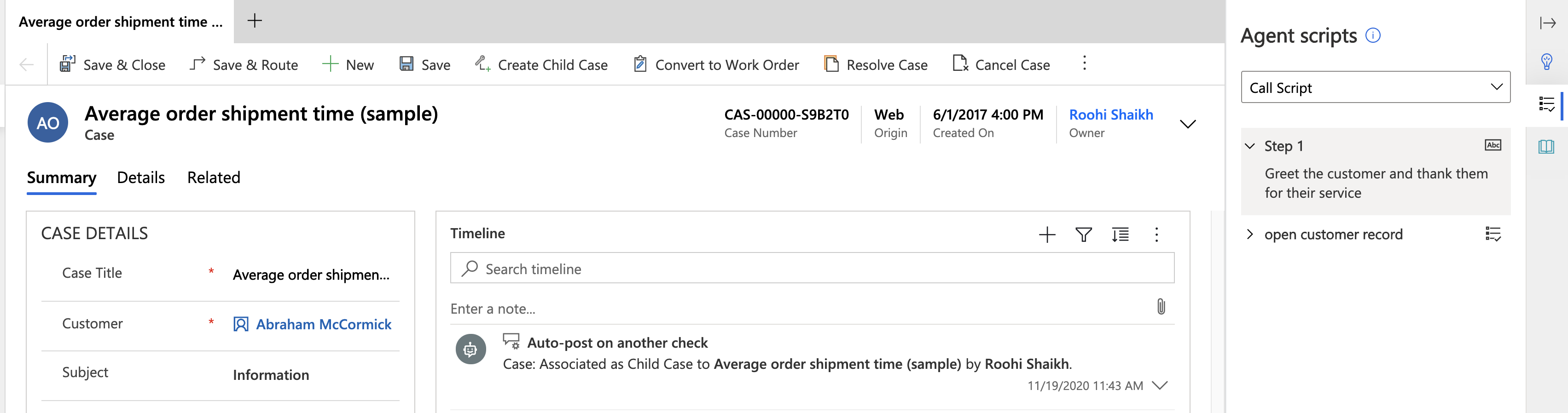Release 2020 Wave 2 - Agent Scripts and Macros as part of Customer Service workspace explored