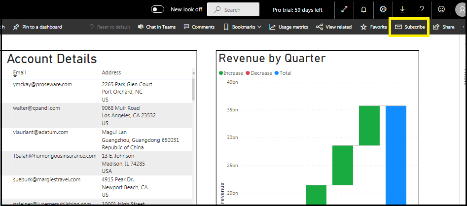 Send Power BI Report and Dashboard details by Email
