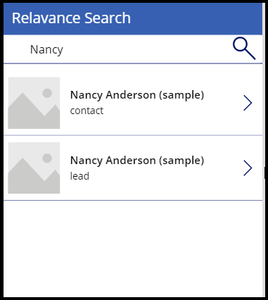 relevance search screen