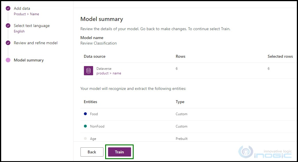 create an Entity Extraction model with custom entities