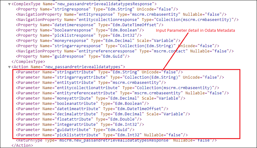 execute all available data types in Custom API