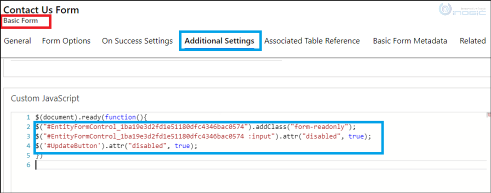 How to convert an editable Basic Form (Entity Form) to read mode programmatically in Power Apps Portal